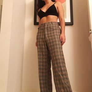 Vintage 70s Plaid High Rise Trousers
